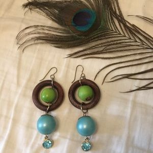 Urban Outfitters Jewelry - Urban Outfitters Green Blue Wood earrings